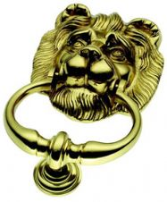Lionhead Door Knocker in Polished Brass